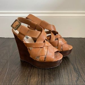Shoemint Brown Leather Wedge Heels Size 6